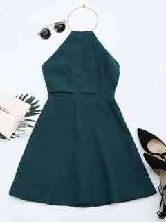 Open Back Ring Halter Flare Dress - Blackish Green Xl