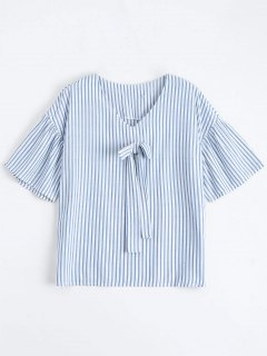 Loose Stripes Bowknot Top - Stripe L