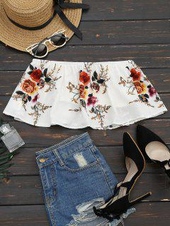 Smocked Ruffles Floral Cropped Tube Top - White S