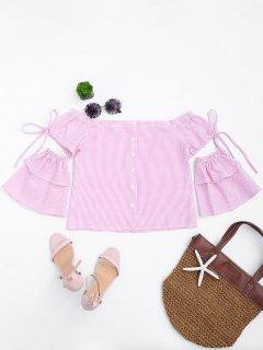 Button Up Stripes Off Shoulder Top - Pink Stripe L