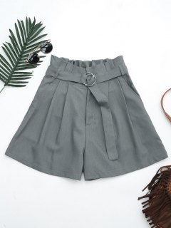 Ruffles Belted Wide Legged Paperbag Shorts - Gray L