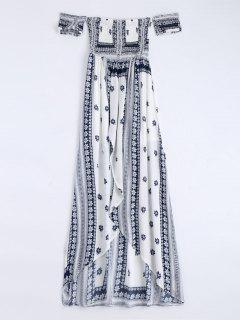 Off Shoulder Smocked Printed Front Slit Maxi Dress - White L