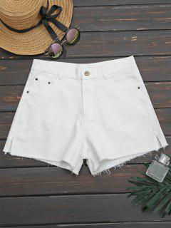 Side Slit Cutoffs Denim Shorts - White 34