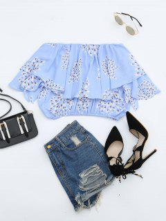Flower Off Shoulder Overlay Cropped Blouse - Light Blue L