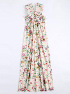 Off Shoulder Side Slit Smocked Floral Maxi Dress - Floral L