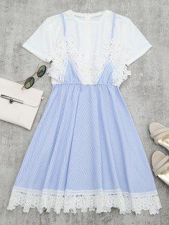 Lace Panel Striped Faux Twin Set Dress - Light Blue Xl
