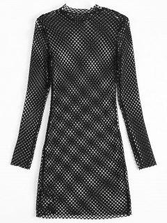 Long Sleeve Sheer Bodycon Dress - Black M