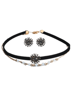 Rhinestoned Sun Choker Necklace And Earring Set - Black