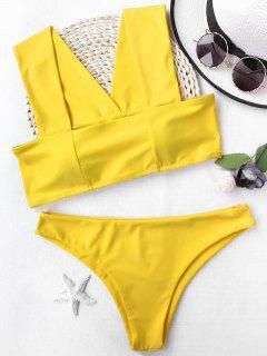 Wide Straps Padded Square Cut Bikini Set - Yellow M