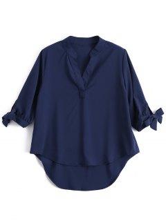 Bow Tie Sleeve High Low Shirt - Purplish Blue