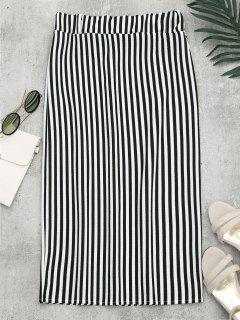 High Waist Slit Striped Skirt - Stripe M
