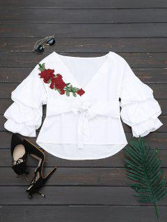 V Neck Floral Patched Belted Blouse - White Xl
