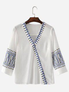 Gestickte Bluse Mit V-Ausschnitt - Weiß S