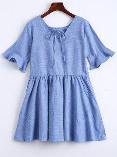 Ruffle Hem Checked Bowtie Dress - Light Blue S
