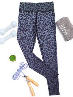 Ombre Leopard Imprimir Slimming Yoga Leggings - Negro M