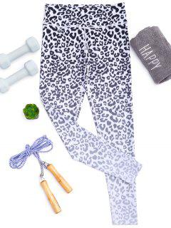 Leopard Print Ombre Yoga Leggings - White M