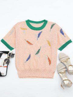 Leaves Patchwork Short Sleeves Knitted Top - Pink