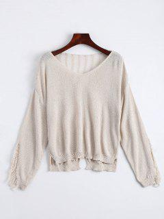 V Neck Ripped Long Sleeve Knitted Top - Apricot