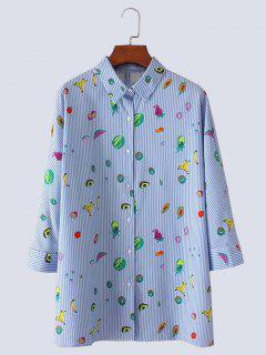 Fruit Print Button Up Slit Striped Shirt - Light Blue S
