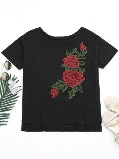 T-shirt Épaule Tombante Fente Effet Floral - Noir Xl