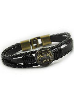 Tiger Patterned Braid Faux Leather Bracelet - Black