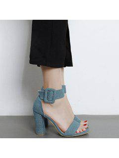 Denim Ankle Strap Block Heel Sandals - Blue 40