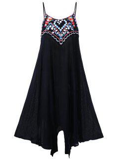 Plus Size Embroidery Slip Summer Dress - Black 2xl