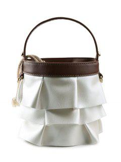 PU Leather Ruffles Handbag - Brown