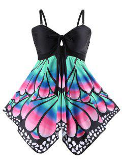 Plus Size Butterfly Print Skirted Blouson Tankini - Black 5xl