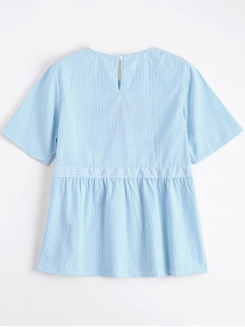 womens Stripes Ruffles Embroidered Top - STRIPE L Mobile