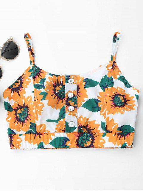 new Button Up Sunflower Crop Top - WHITE ONE SIZE Mobile