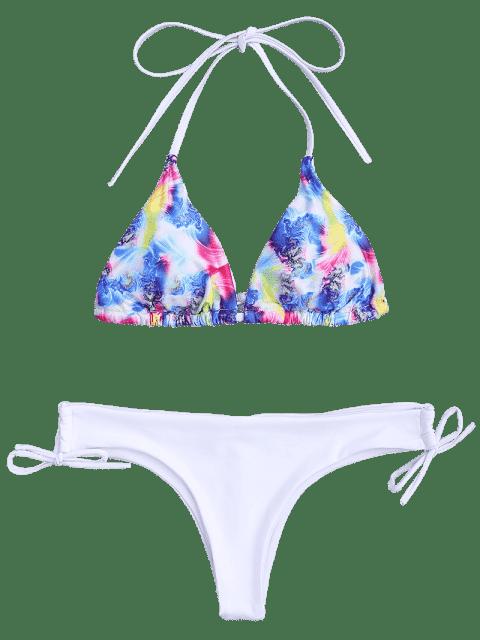 shops Padded Printed Loop Tie Side Bikini Set - MULTICOLOR M Mobile
