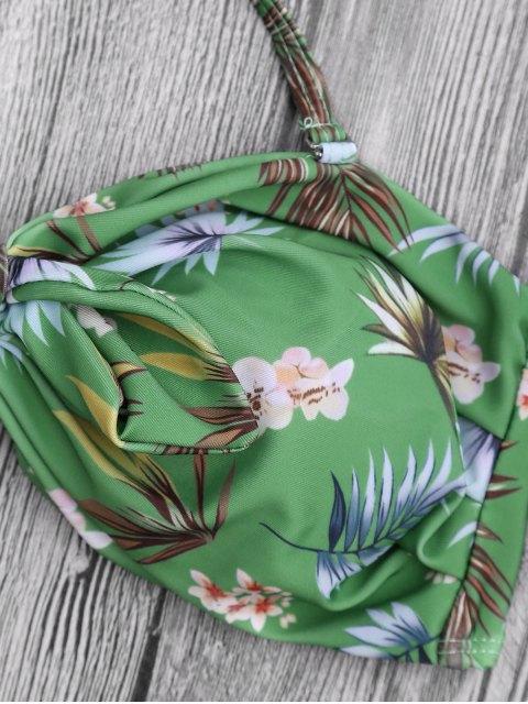 fashion Printed Knotted Bandeau Bikini Set - GREEN M Mobile