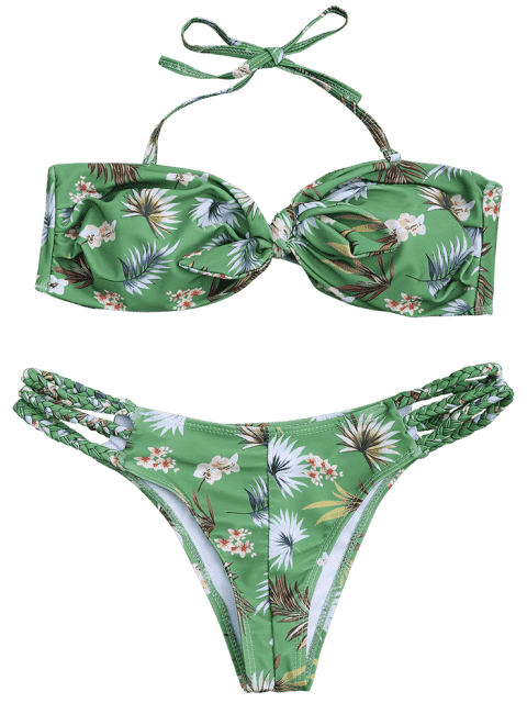 chic Printed Knotted Bandeau Bikini Set - GREEN S Mobile