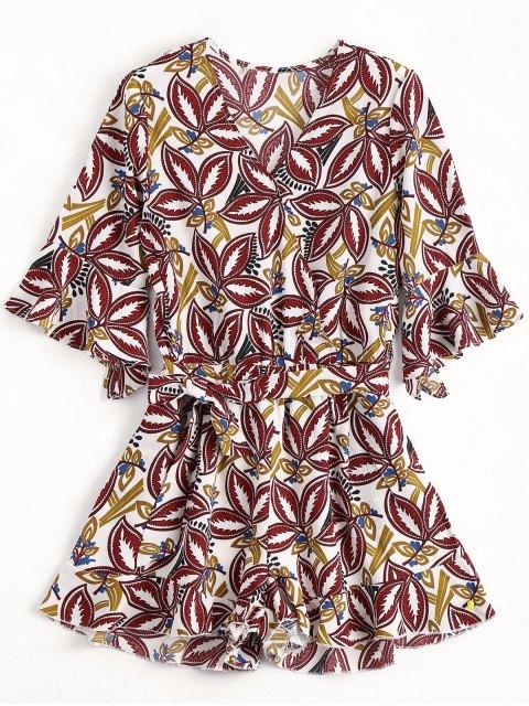 women's Flare Sleeve Printed Ruffles Romper - MULTICOLOR M Mobile
