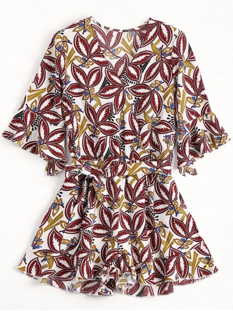 ladies Flare Sleeve Printed Ruffles Romper - MULTICOLOR S Mobile