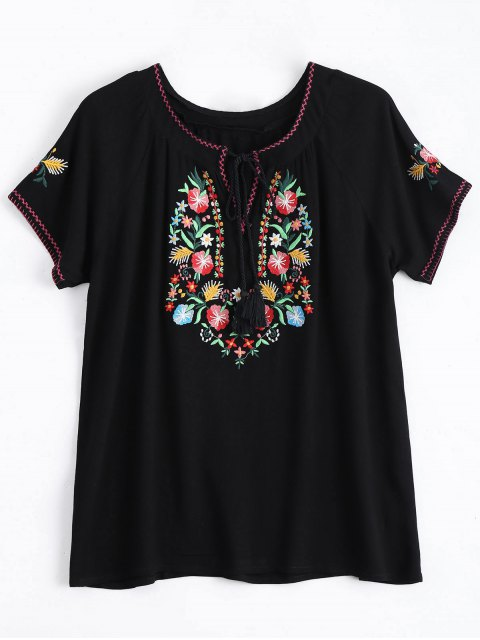 latest String Tassels Floral Embroidered Top - BLACK M Mobile