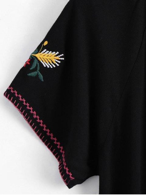 trendy String Tassels Floral Embroidered Top - BLACK S Mobile