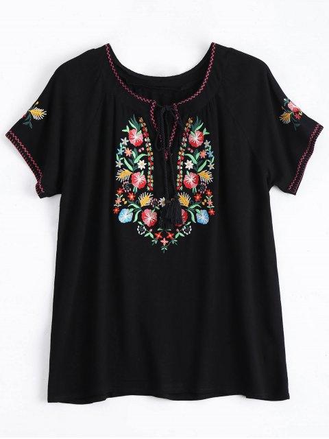 Top à lacet avec broderie florale - Noir S Mobile