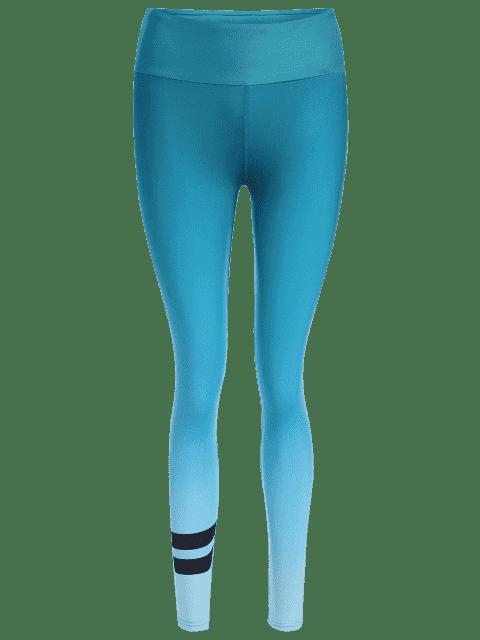 trendy Ombre Slimming Yoga Leggings - BLUE GREEN L Mobile
