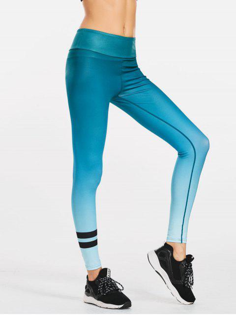 chic Ombre Slimming Yoga Leggings - BLUE GREEN S Mobile