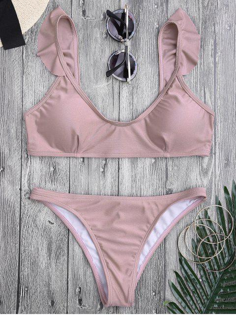 womens Ruffle Straps Padded Scoop Bikini Set - PINK S Mobile