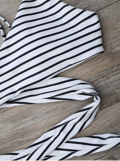 women Striped Padded Wrap Bikini Set - WHITE AND BLACK XL Mobile