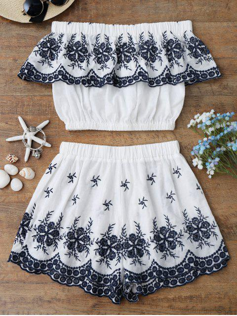 hot Off Shoulder Embroidered Crop Top with Shorts - WHITE L Mobile