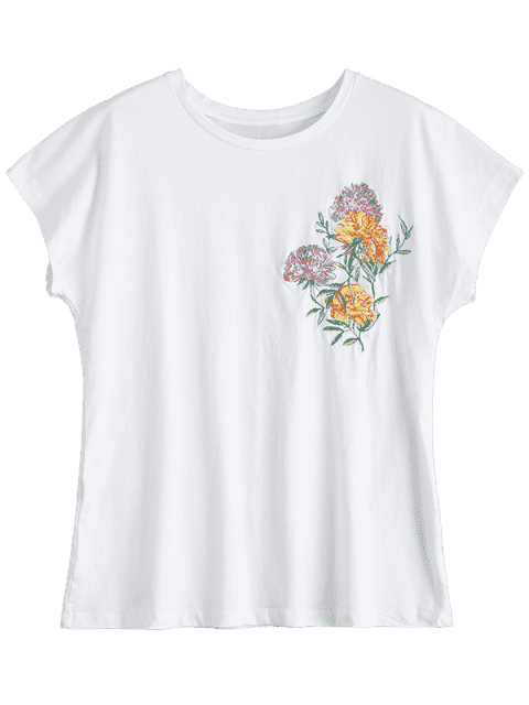 lady Cotton Loose Floral Embroidered T-Shirt - WHITE S Mobile