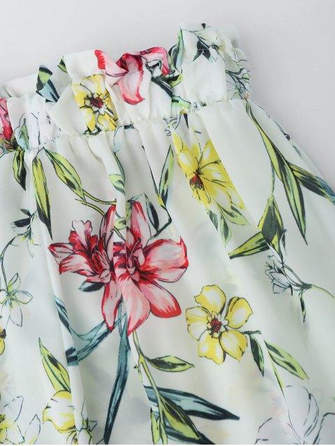 Pantalon à encolure florale et pantalon à pattes larges Palazzo - Floral L Mobile