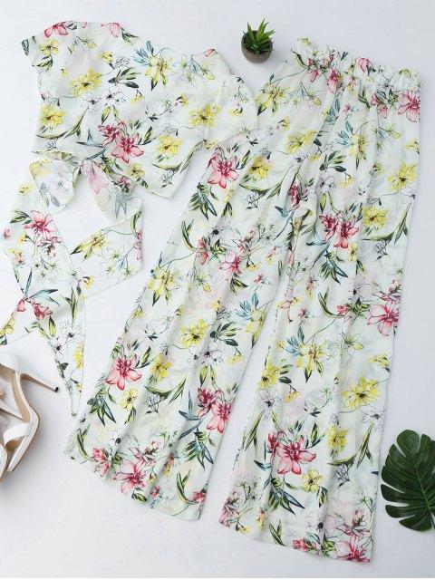 Pantalon à encolure florale et pantalon à pattes larges Palazzo - Floral S Mobile