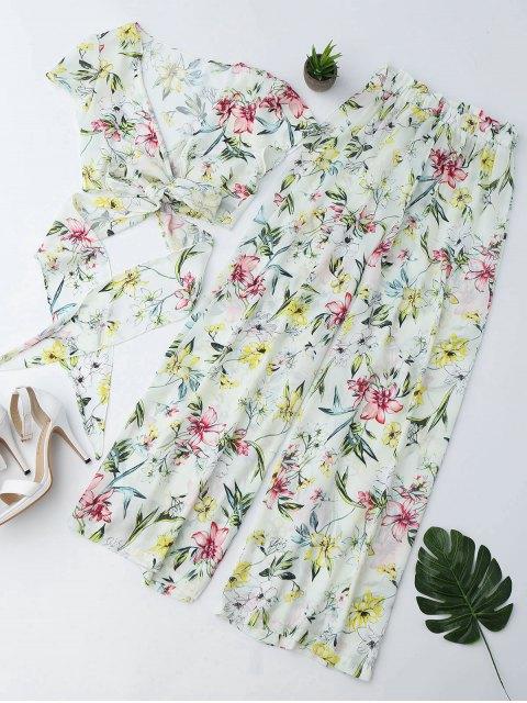 shop Floral Wrap Top and Palazzo Wide Leg Pants - FLORAL S Mobile