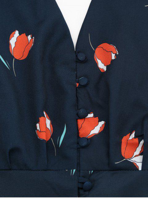 Bottes à boutons floraux haut et Ruffles - Bleu Violet M Mobile