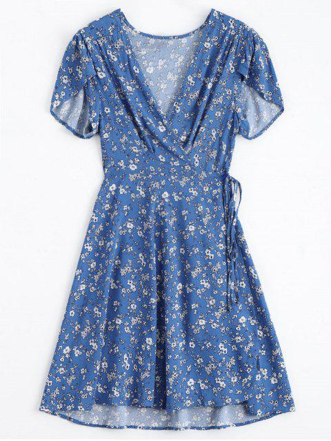 chic Tiny Floral Plunging Neck Wrap Dress - BLUE S Mobile